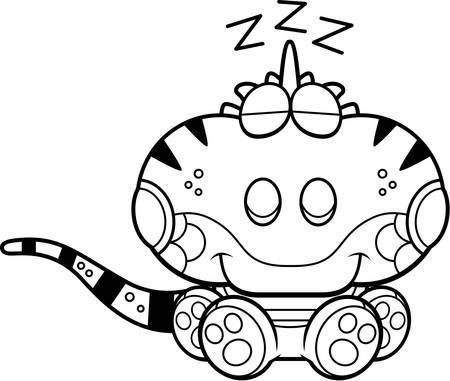 Een cartoon illustratie van een leguaan een dutje.