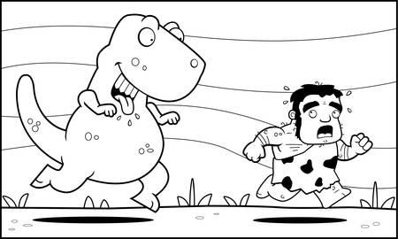 A happy cartoon dinosaur chasing a caveman.