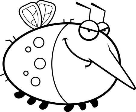 A cartoon illustration of a mosquito with a sly expression. 向量圖像