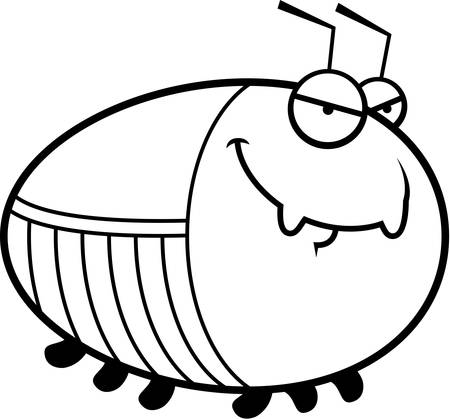 sly: A cartoon illustration of a cockroach with a sly expression. Illustration