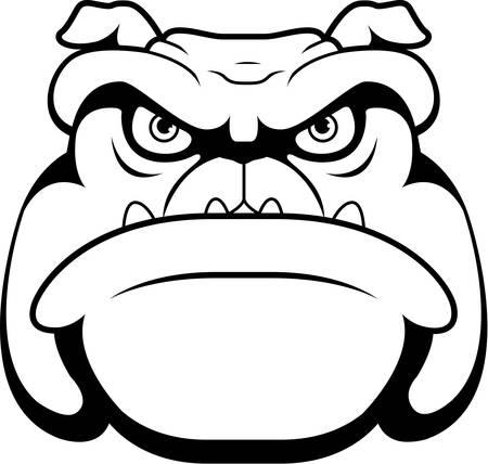 scowl: A cartoon face and head of a bulldog.