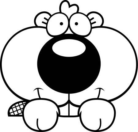 개체 위에 엿보기 비버 키트의 만화 그림.