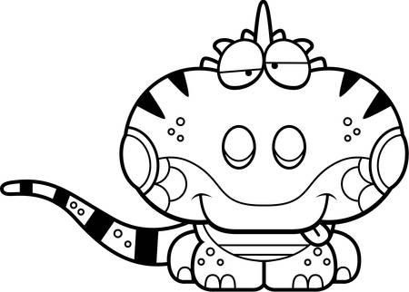 Een cartoon illustratie van een leguaan met een Goofy meningsuiting.