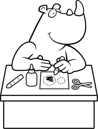 crayon  scissors: A cartoon illustration of a rhino doing arts and crafts. Illustration