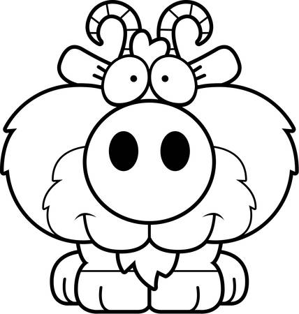 billy: A cartoon illustration of a goat happy and smiling.