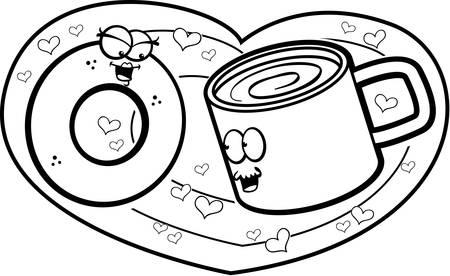 A happy cartoon doughnut and cup of coffee in love. Ilustração