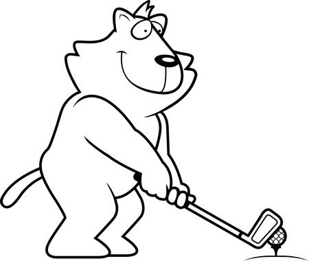 rt: A cartoon illustration of a lion playing golf.