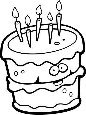 A cartoon birthday cake happy and smiling.