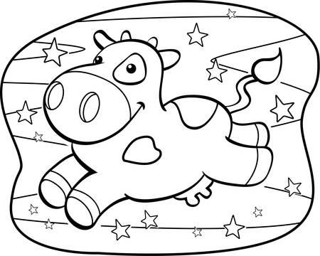 vacas lecheras: Una vaca del chocolate feliz de dibujos animados en la V�a L�ctea. Vectores
