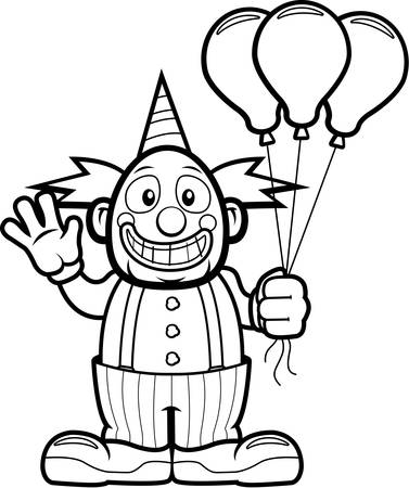 holiday celebrations: A happy cartoon clown waving and smiling.