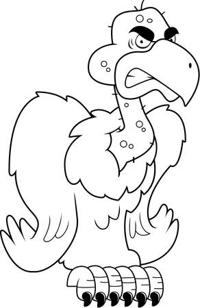 buzzard: A cartoon vulture perched with an angry expression. Illustration