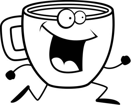 A happy cartoon coffee cup running and smiling.