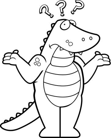 shrug: A cartoon alligator looking confused and shrugging.
