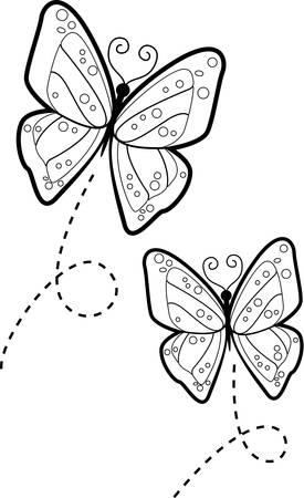 Twee cartoon vlinders vliegen in de lucht.