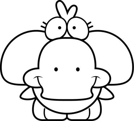 A cartoon illustration of a little duckling happy and smiling. Illusztráció