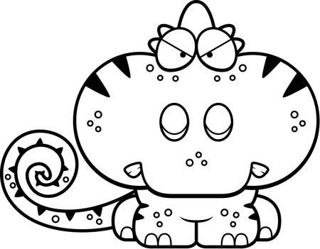 화가 식을 카멜레온의 만화 그림. 일러스트