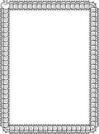 A smiling cartoon caterpillar forming a border.