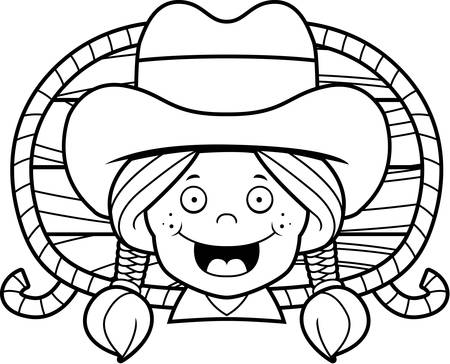 redheaded: A cartoon redheaded cowgirl smiling and happy.