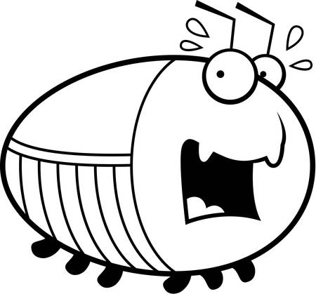 cockroach: A cartoon illustration of a cockroach looking scared.