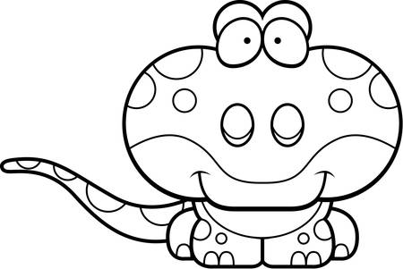 small reptiles: A cartoon illustration of a gecko happy and smiling.