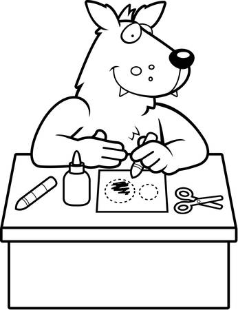 paper arts and crafts: A cartoon illustration of a wolf doing arts and crafts.