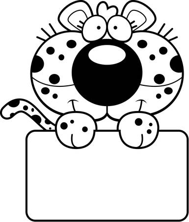 Une illustration de bande dessinée d'un bébé léopard avec un signe blanc. Banque d'images - 43358581
