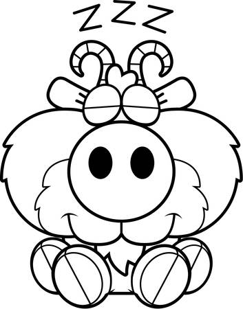 billy: A cartoon illustration of a goat taking a nap. Illustration