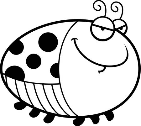 A cartoon illustration of a ladybug with a sly expression. 向量圖像