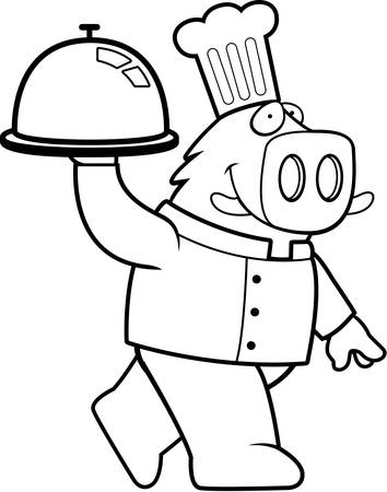 serving people: A happy cartoon boar chef with a serving tray. Illustration