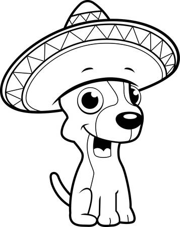 cartoon chihuahua: A happy cartoon Chihuahua with a sombrero. Illustration