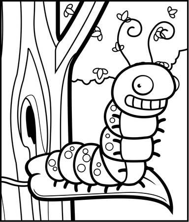A cartoon caterpillar sitting on a leaf in a tree. Ilustrace