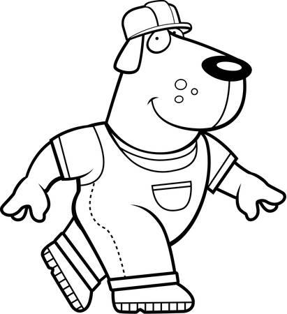 A happy cartoon dog builder in a hardhat.