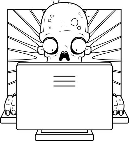 captivated: A cartoon zombie in front of a computer screen. Illustration