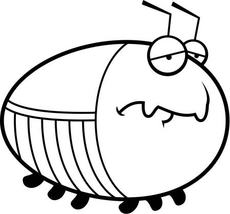 frowning: A cartoon illustration of a cockroach with a sad expression. Illustration