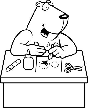 A cartoon illustration of a groundhog doing arts and crafts.