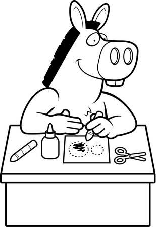 美術・工芸をやってロバの漫画イラスト。