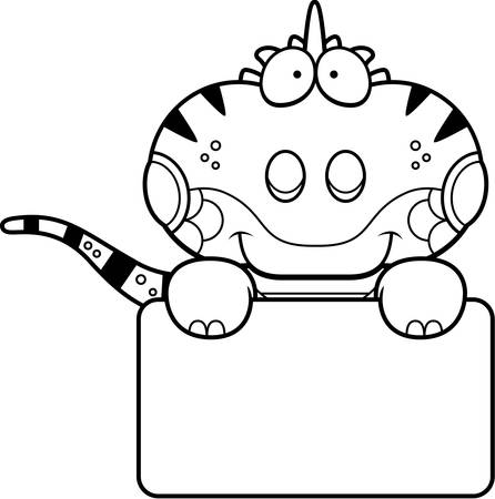 Een cartoon illustratie van een leguaan met een wit teken.