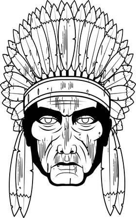chief: A wooden sculpture of an Indian Chief.