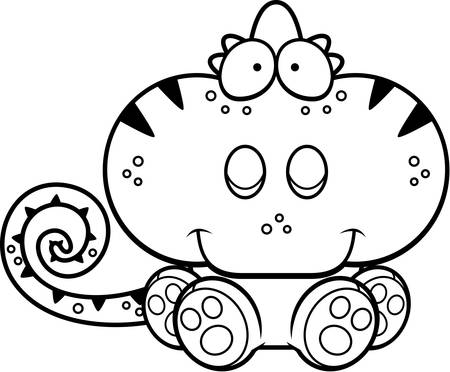 A cartoon illustration of a chameleon sitting and smiling. 向量圖像