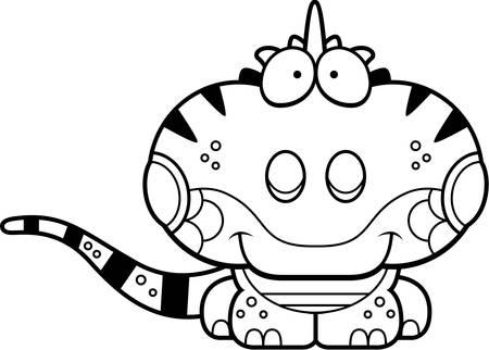 Een cartoon illustratie van een leguaan gelukkig en glimlachen.