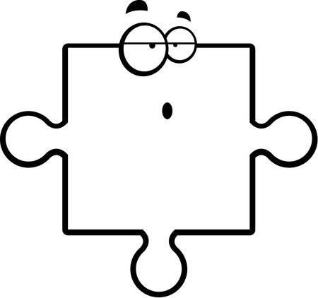 Een cartoon puzzelstukje met een verwarde uitdrukking.