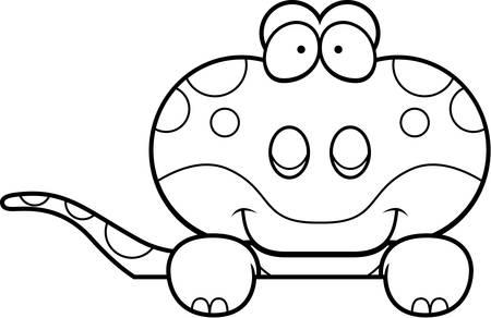 A cartoon illustration of a gecko peeking over an object. Stok Fotoğraf - 43359618
