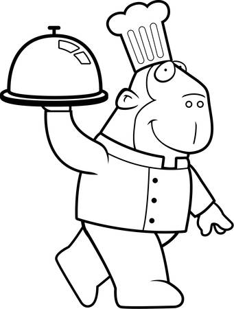 ape: A happy cartoon ape chef carrying a serving tray. Illustration
