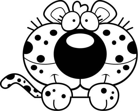 A cartoon illustration of a leopard cub peeking over an object.