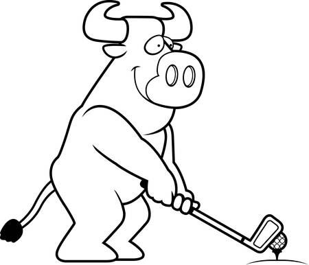 rt: A cartoon illustration of a bull playing golf.