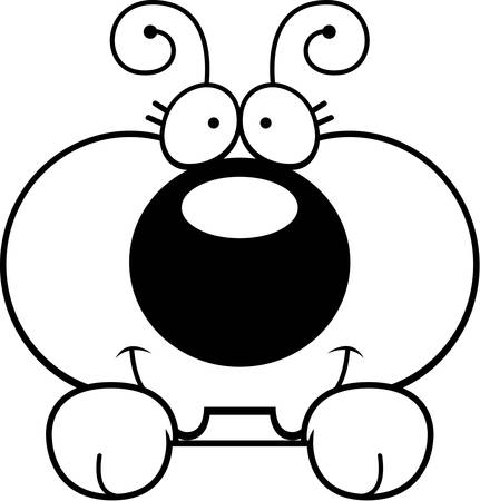 peering: A cartoon illustration of a little ant peeking over an object.