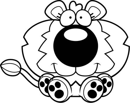ライオンの子座っていると笑顔の漫画イラスト。 写真素材 - 43359638