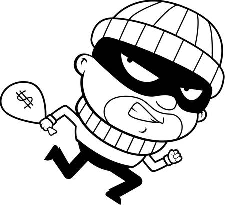 burglar: A cartoon burglar running away with a stolen money bag