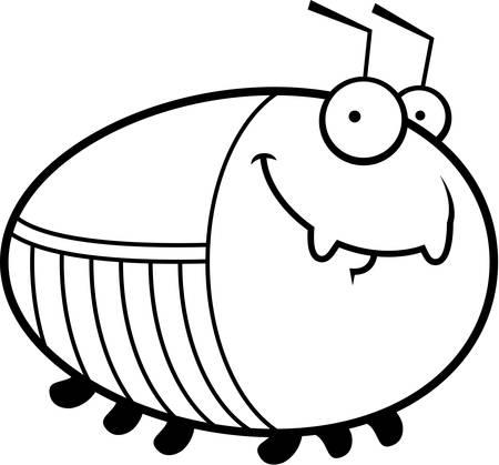 cockroach: A cartoon illustration of a cockroach looking happy.