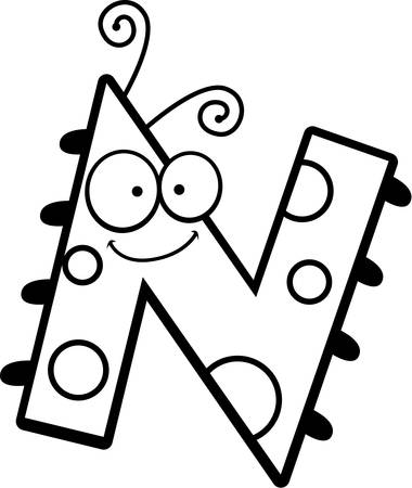 A cartoon illustration of the letter N with an insect theme.